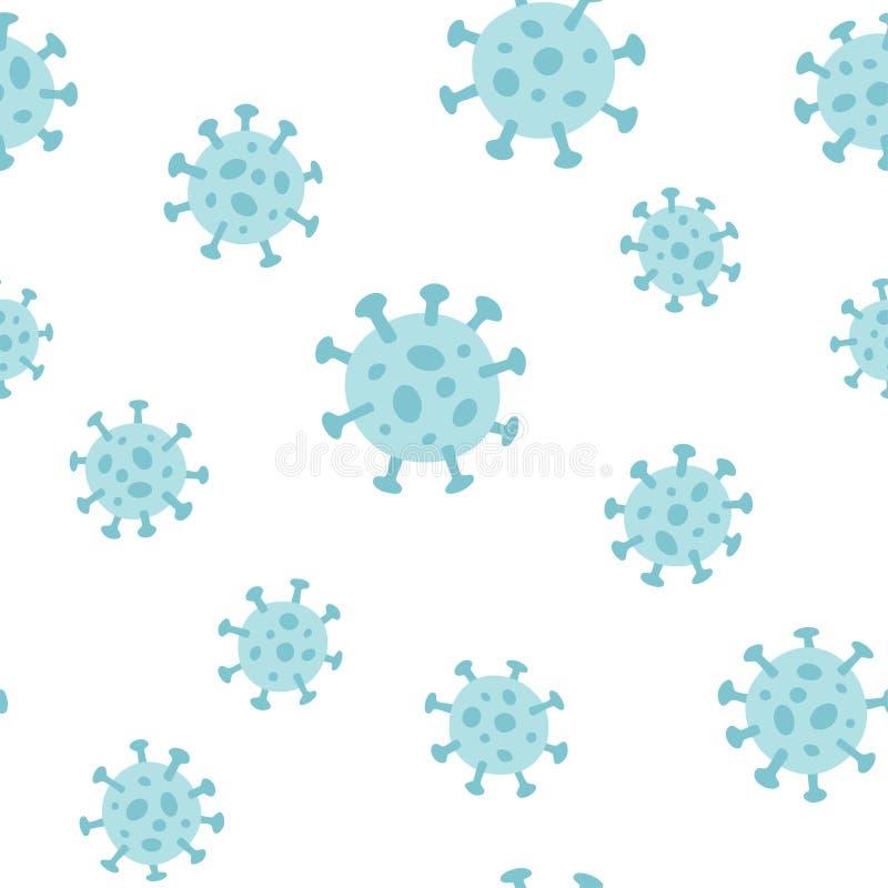 冠状病毒COVID 19或武汉冠状病毒 无缝手绘图案 向量例证