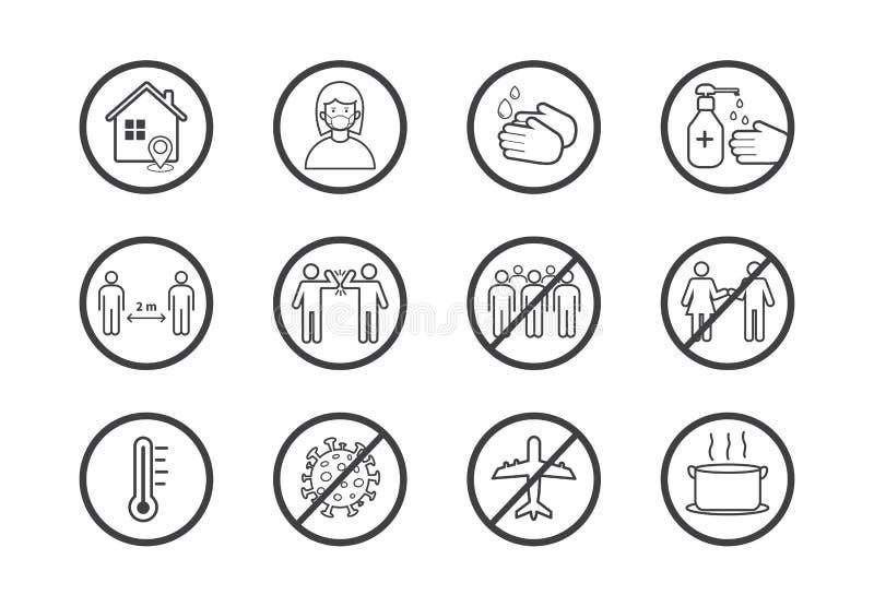 冠状病毒COVID-19预防概念 平面线图标集 社交疏离,待在家,避开人群,洗手 向量例证