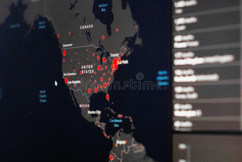 冠状病毒SARS-Cov-2的美国和加拿大地图 世界冠状病毒病确诊病例 全球报告 库存照片