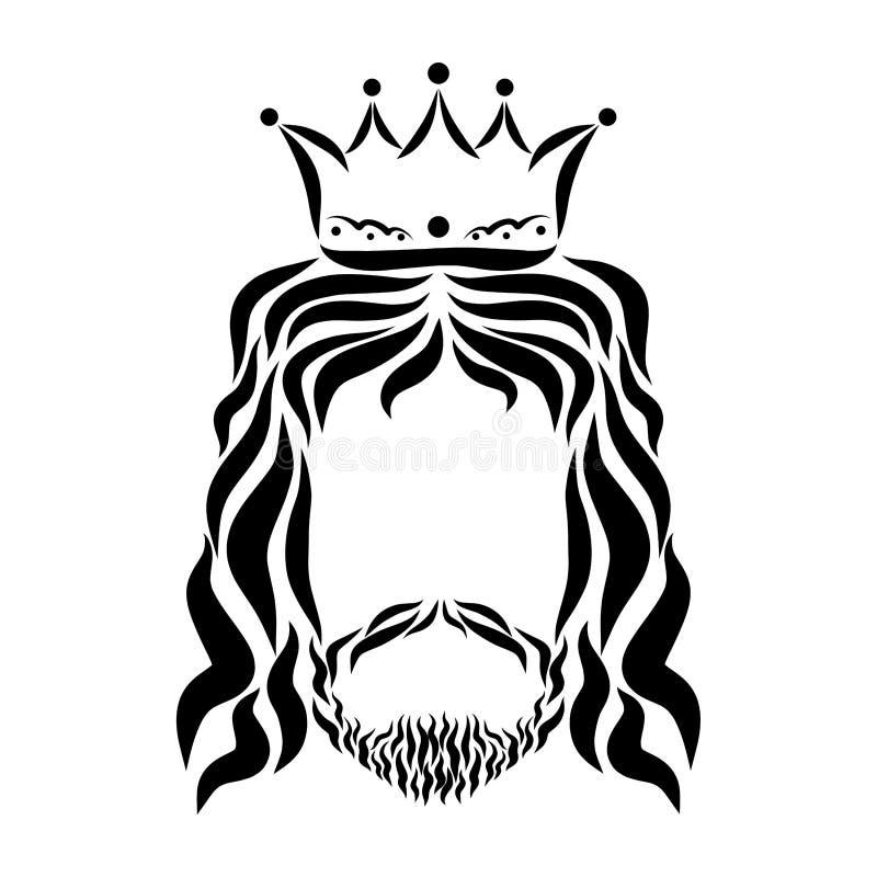 冠的耶稣,头,剪影阁下 库存例证