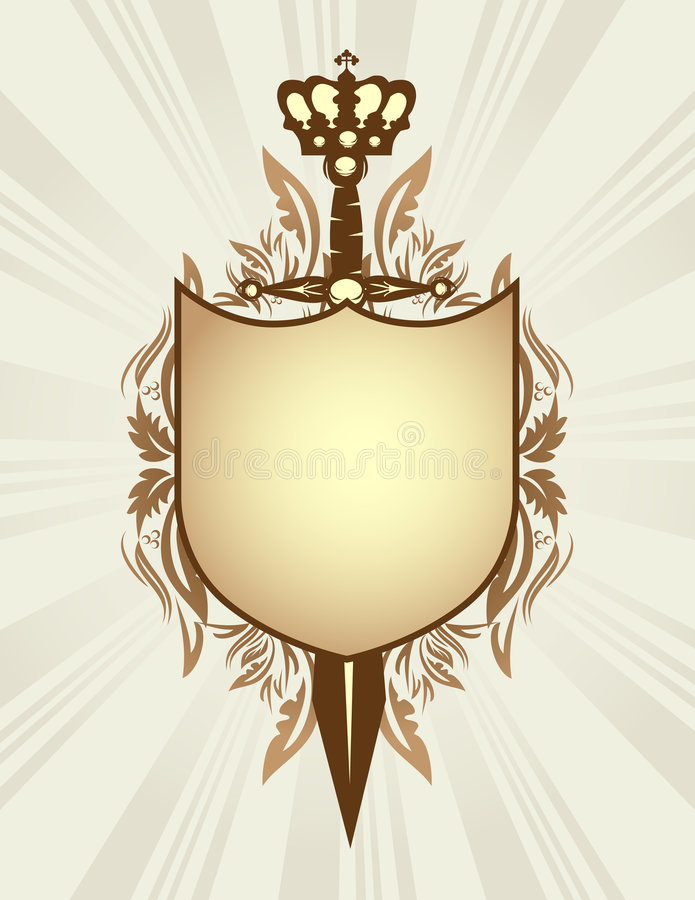 冠盾剑 向量例证