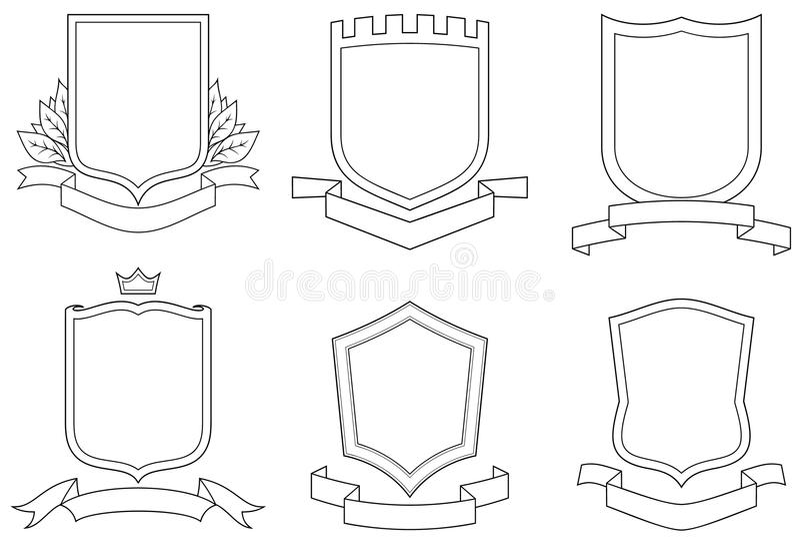 冠象征滚动被设置的盾向量 皇族释放例证