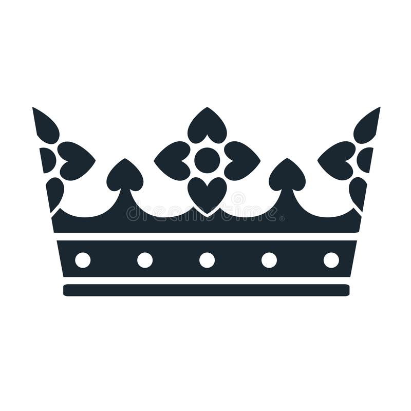 冠象 在白色隔绝的简单的黑白冠标志 皇族释放例证