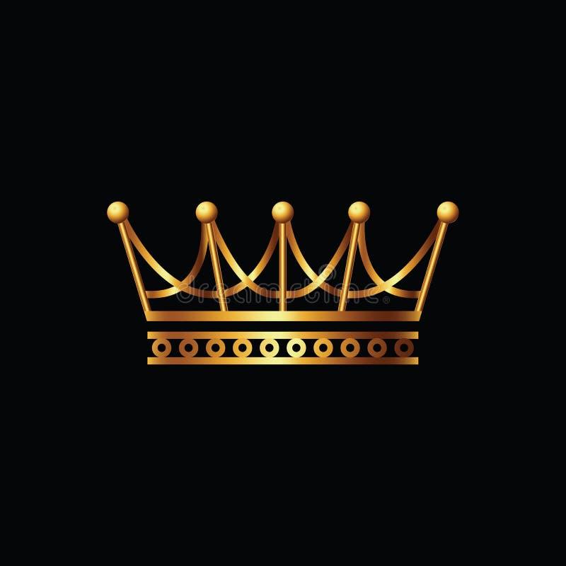 冠 金子在黑背景的标志象 向量例证