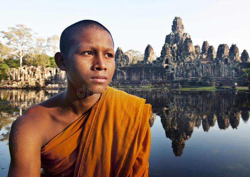 冥想修士柬埔寨概念的古老佛教 免版税库存图片