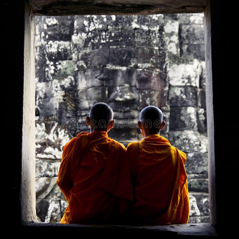 冥想柬埔寨文化概念的修士 库存图片