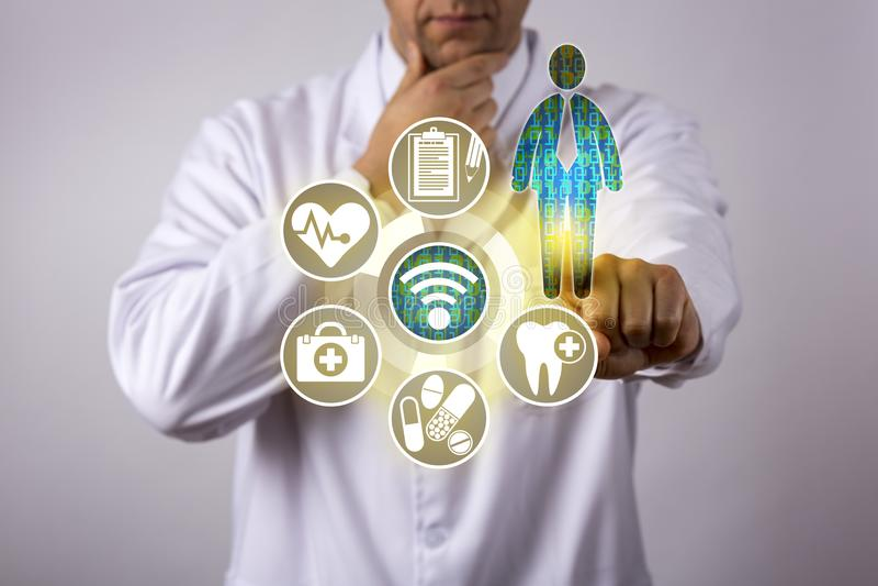 冥想耐心医疗保健数据的医师 图库摄影