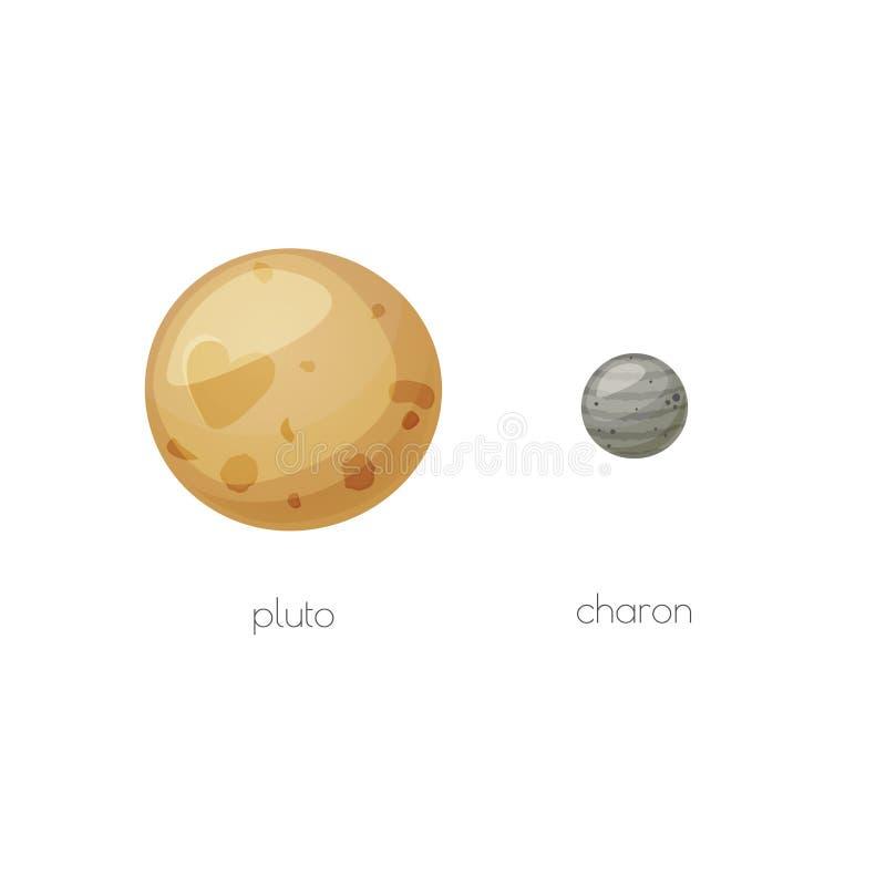 冥王星和它的月亮冥卫一,空间对象 向量例证