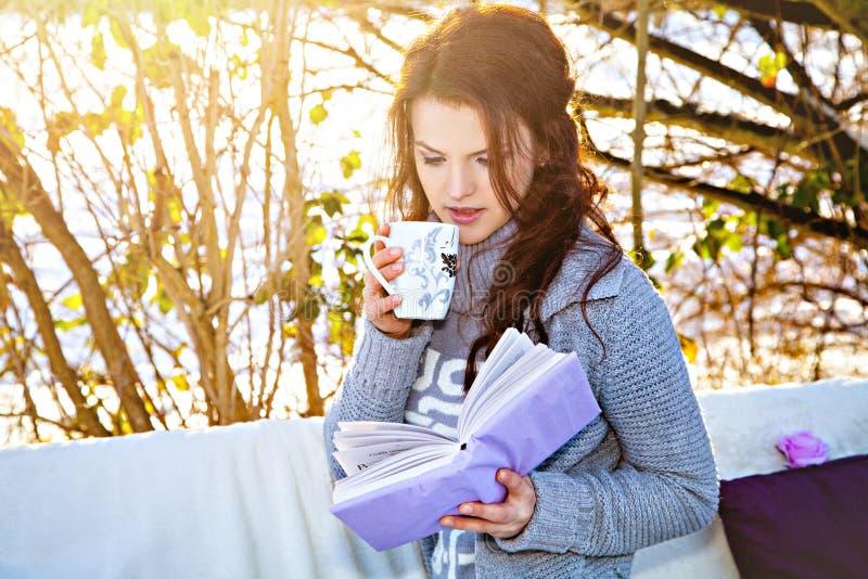 冬天、公园、长沙发和妇女有书和茶的 免版税图库摄影