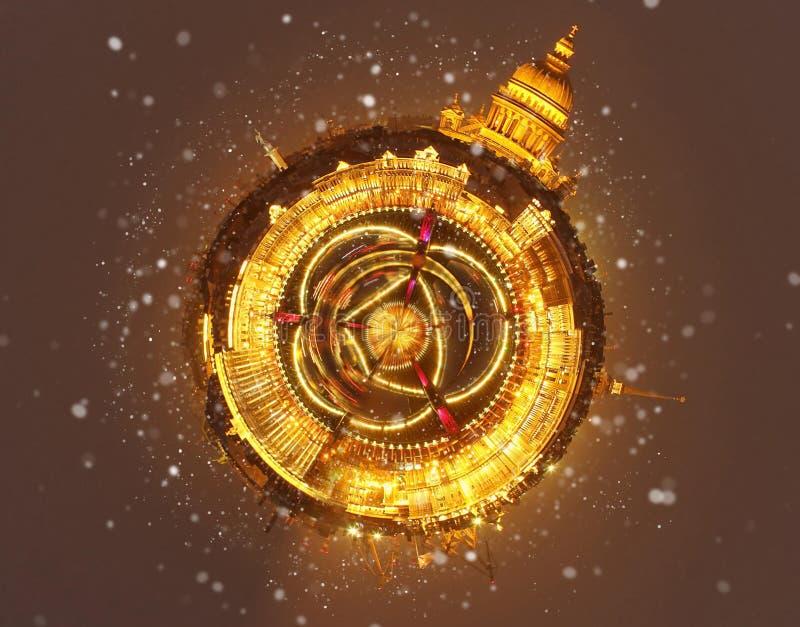 冬天一点行星在俄罗斯 圣诞节背景:圣彼得堡冬天晚上 库存图片