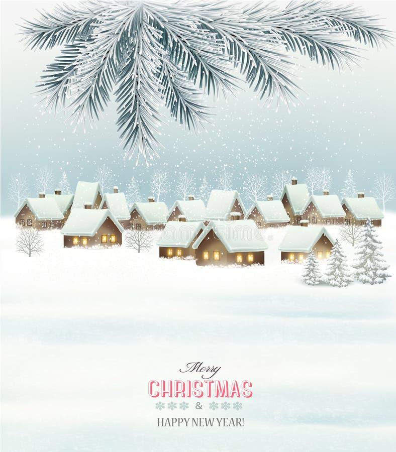 冬天与一个多雪的村庄风景的圣诞节背景 向量例证