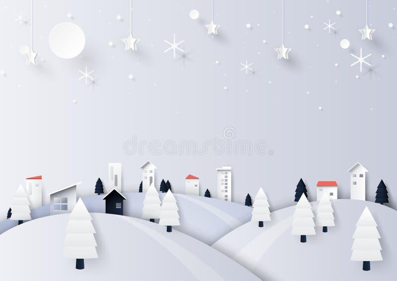 冬天与乡下背景资料艺术st的季节风景 库存例证