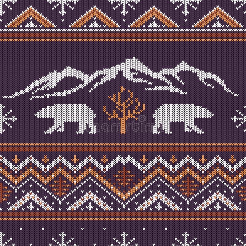 冬天与北极熊的被编织的羊毛样式 皇族释放例证
