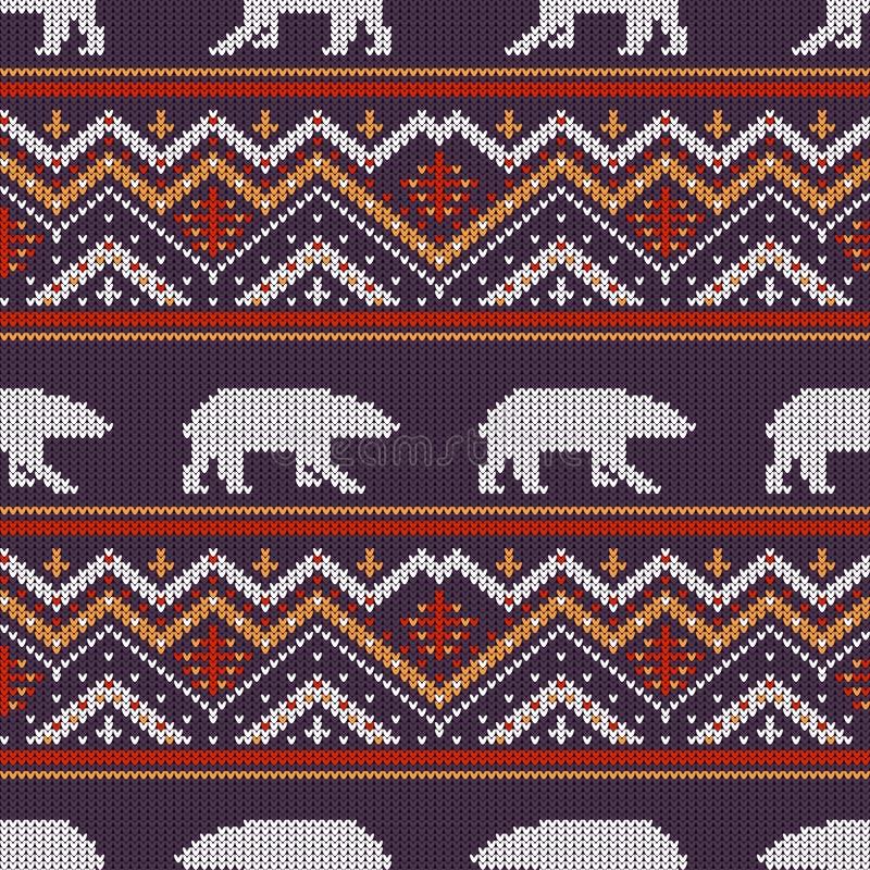 冬天与北极熊的被编织的羊毛样式 库存例证