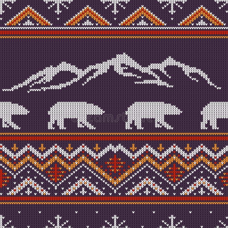 冬天与北极熊的被编织的羊毛样式 向量例证