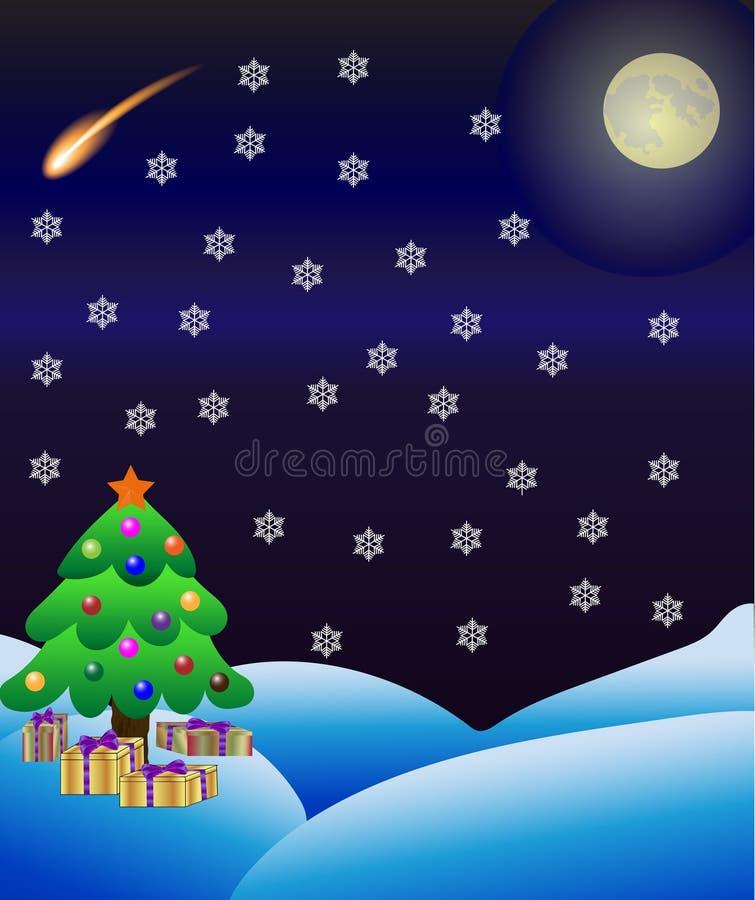 冬天与圣诞树、满月和彗星或流星的自然背景 皇族释放例证