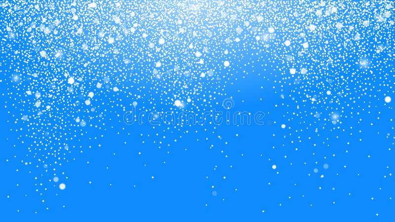 冬天与天空蔚蓝的圣诞节背景 发光美丽的雪的下跌的圣诞节 r 皇族释放例证