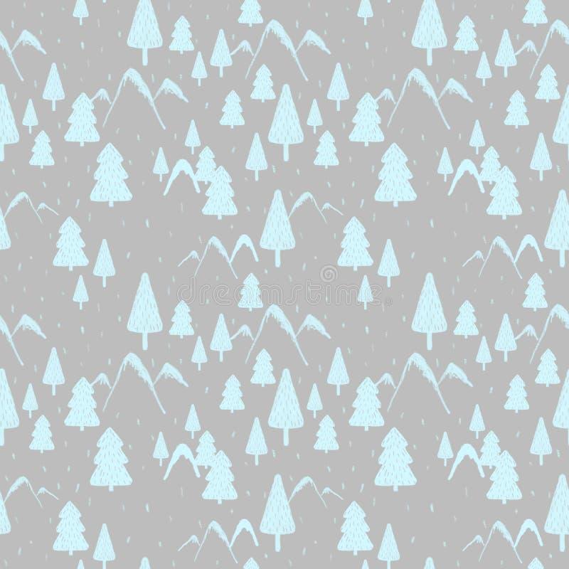 冬天与山、圣诞树和连续雪的森林风景的无缝的样式 礼物纸的,背景理想, 向量例证