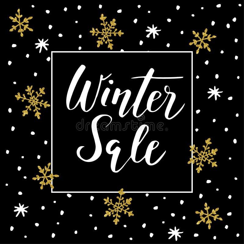 冬天与手写的文本、金黄乱画雪花和星的销售背景 库存例证