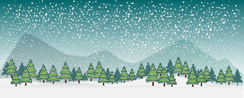 冬天与树和山剪影的传染媒介风景  漫画人物滑稽的以图例解释者铅笔笔设置了向量 向量例证