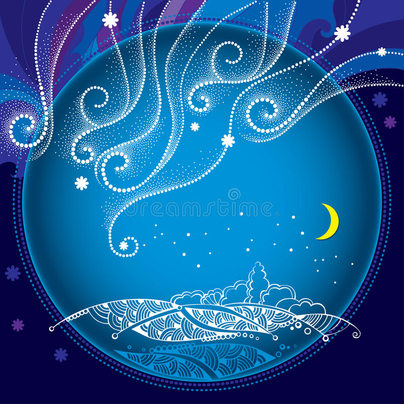 冬天与被加点的雪花和卷曲线的夜风景在圆的框架 传统冬天和圣诞节背景 向量例证