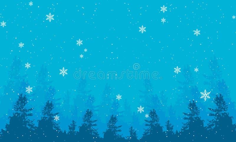冬天与降雪的晚上风景冷杉木横幅和上面  向量例证