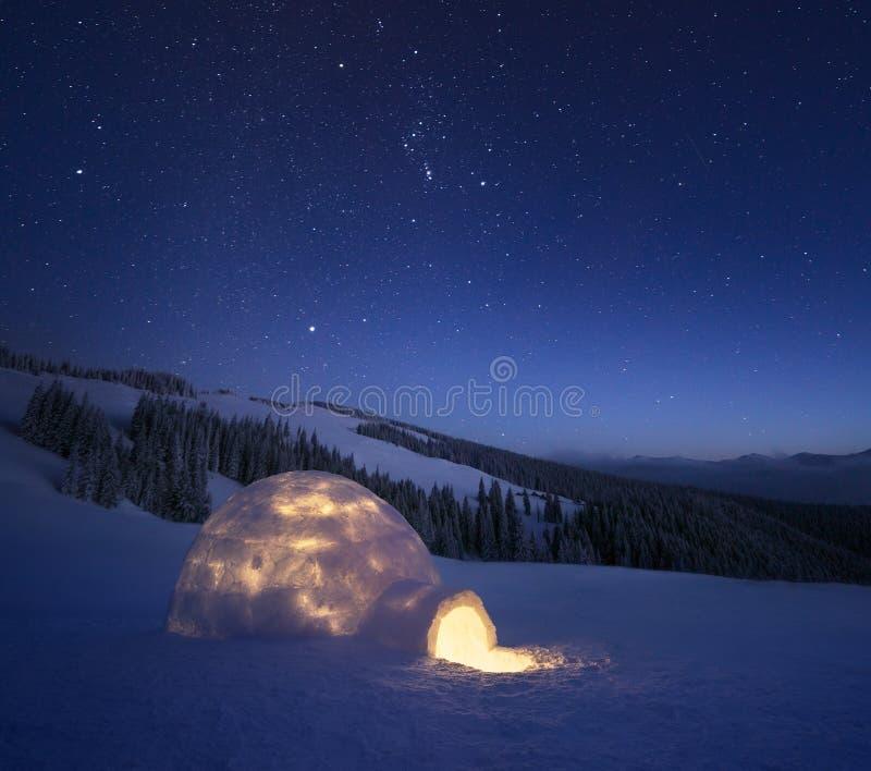 冬天与雪园屋顶的小屋和满天星斗的天空的夜风景 免版税库存照片