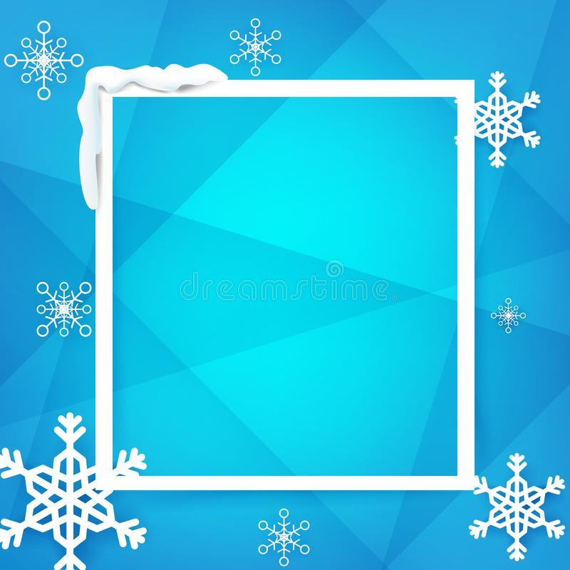 冬天与雪花的房客框架在蓝色背景传染媒介 向量例证