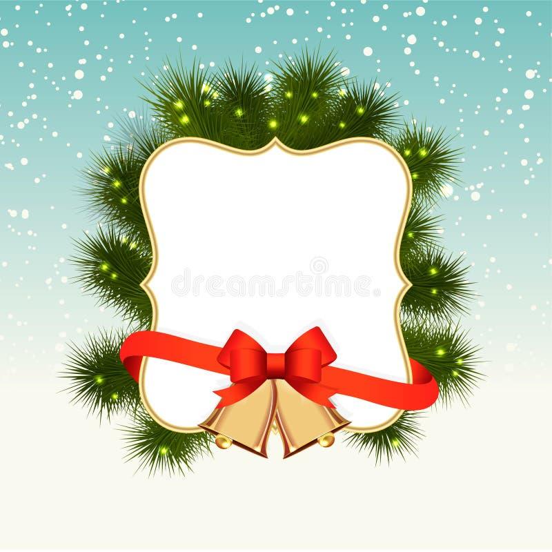 冬天与雪,云杉的圣诞节背景 皇族释放例证