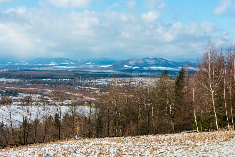冬天与领域、树丛和村庄的山风景 免版税图库摄影
