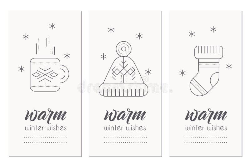 冬天与2017标志和装饰的贺卡模板 库存例证