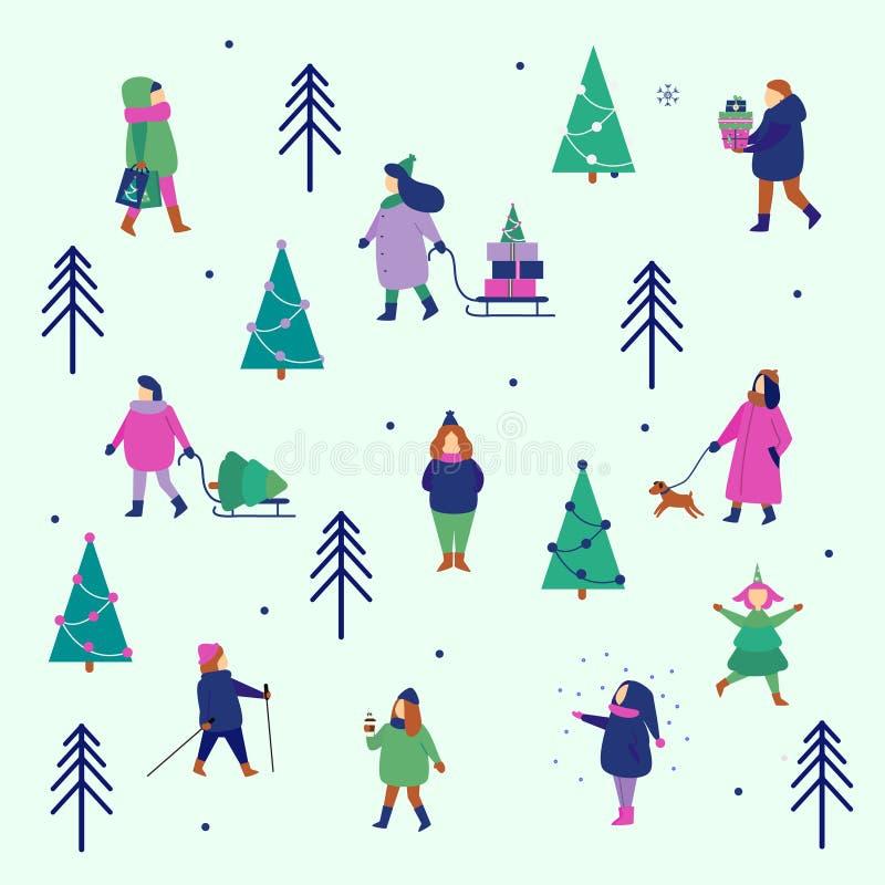 冬天人形象 男人和妇女运载圣诞节,并且新年礼物,享受公园走和季节性室外活动 皇族释放例证