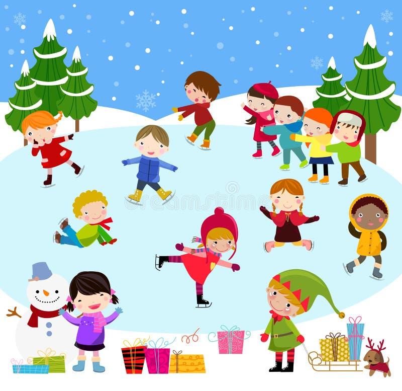 冬天儿童使用 皇族释放例证