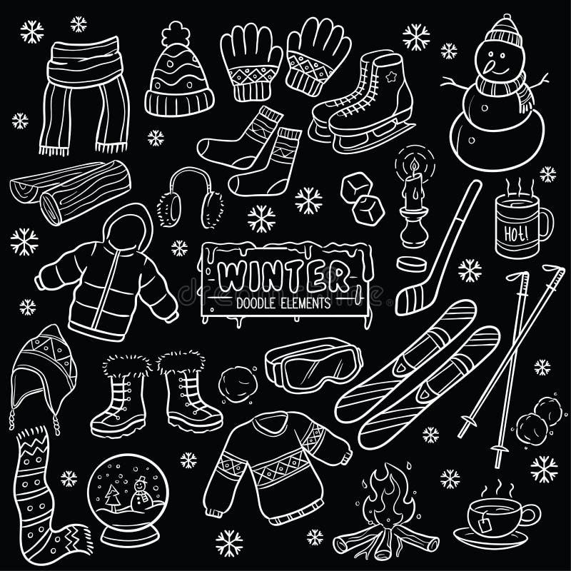 冬天元素黑板图画 向量例证