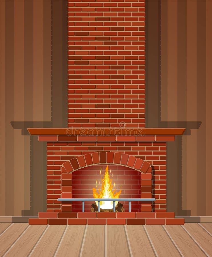 冬天内部篝火 壁炉由砖做成 向量例证