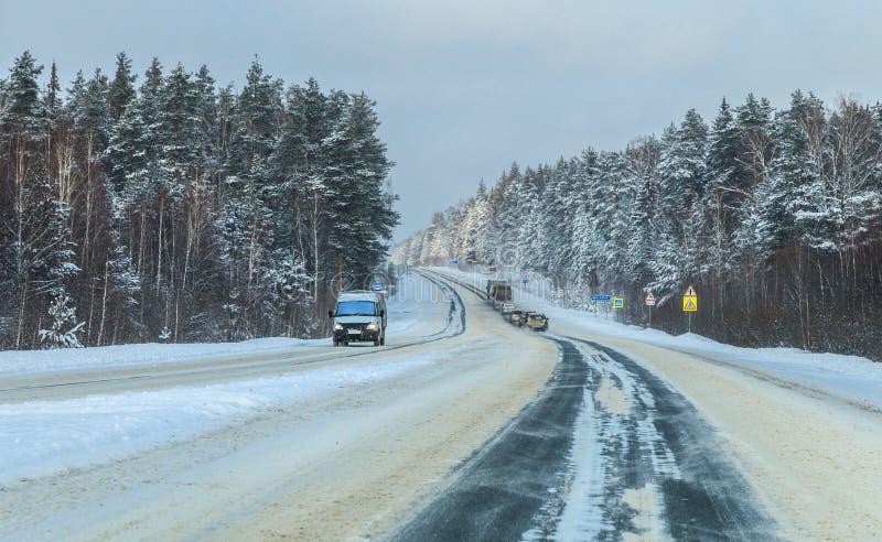 冬天农村高速公路在冷淡的天 库存照片