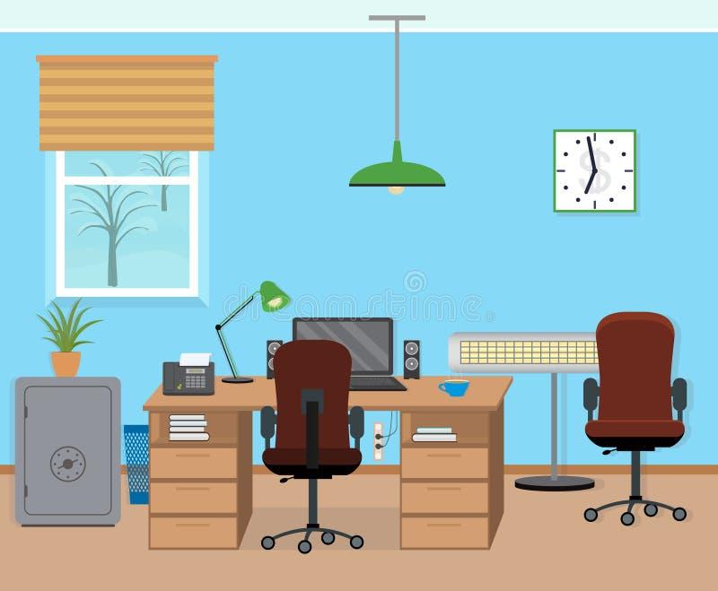 冬天办公室与家具和设备的室内部 皇族释放例证