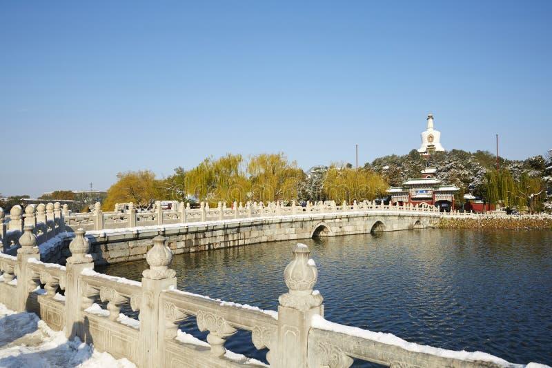 冬天北海公园全景,北京 免版税库存照片