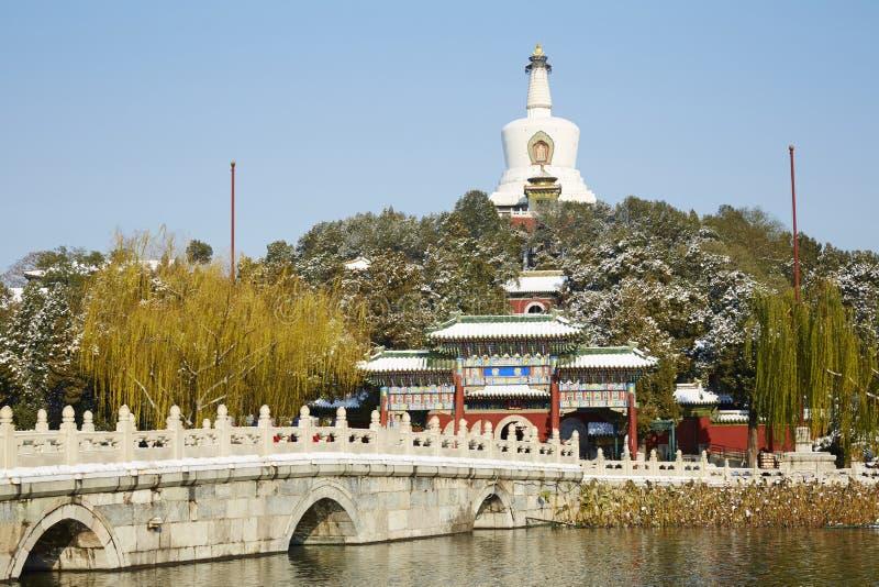 冬天北海公园,北京 免版税库存照片