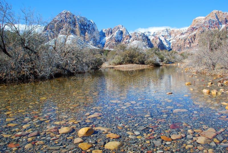冬天和雪在拉斯维加斯附近熔化在红色岩石峡谷的决赛。 内华达。 免版税库存图片