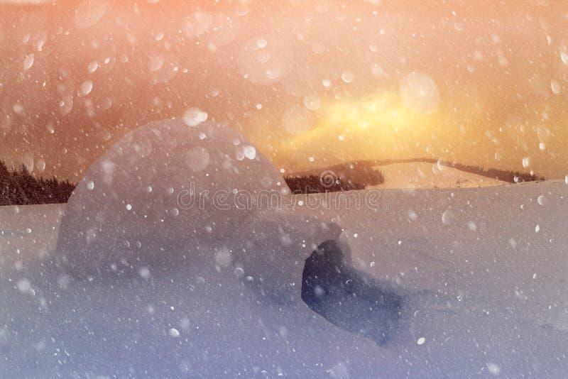 冬天喀尔巴阡山脉的真正的雪园屋顶的小屋房子 库存照片