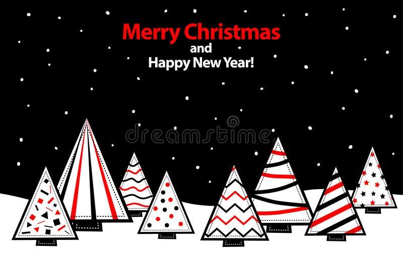 冬天圣诞夜晚上背景,与几何圣诞树的风格化风景 库存例证