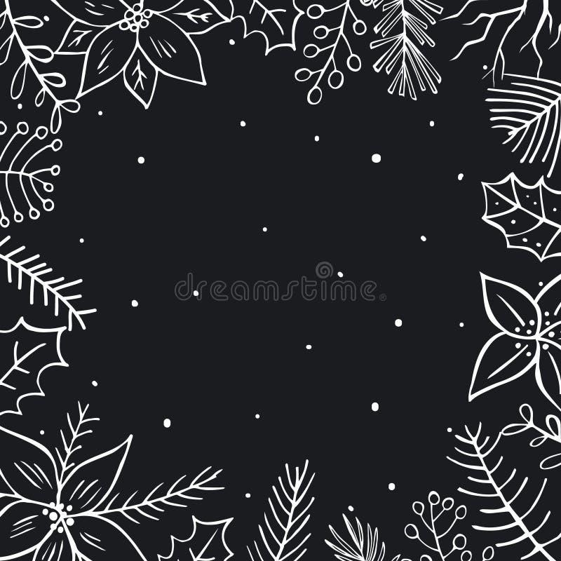 冬天圣诞快乐叶子枝杈分支开花黑白方形的框架 向量例证