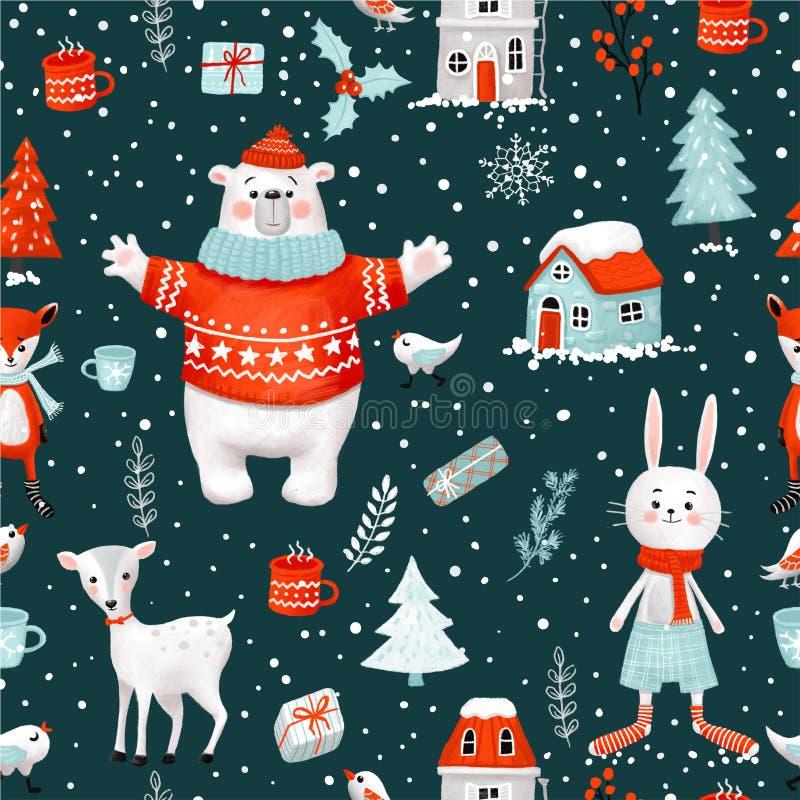 冬天圣诞节假日手拉的光栅无缝的样式 包括的裁减路线 向量例证