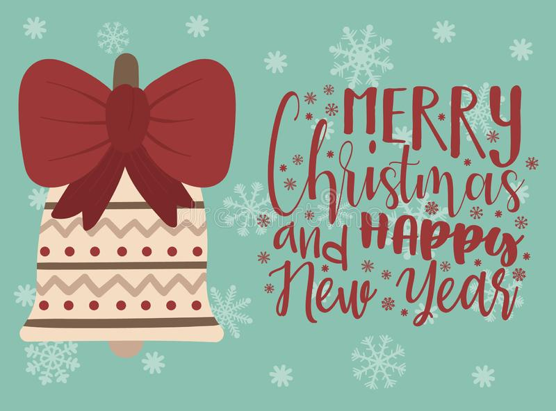 冬天圣诞节和新年例证 传染媒介图象与弓的动画片响铃 在背景的一只手上画的贺卡  库存例证