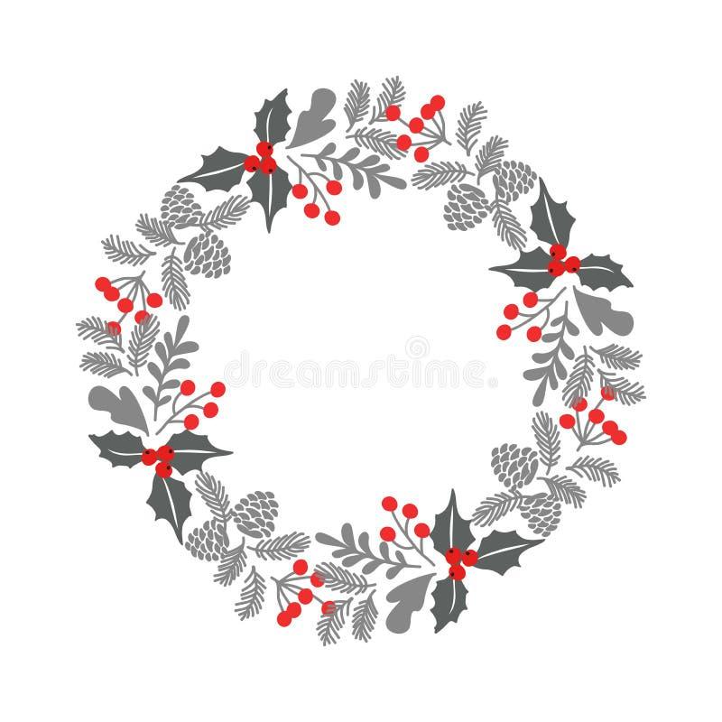 冬天圣诞节框架,传染媒介例证 圣诞节与花圈的贺卡 为圣诞节和新年问候,i完善 库存例证