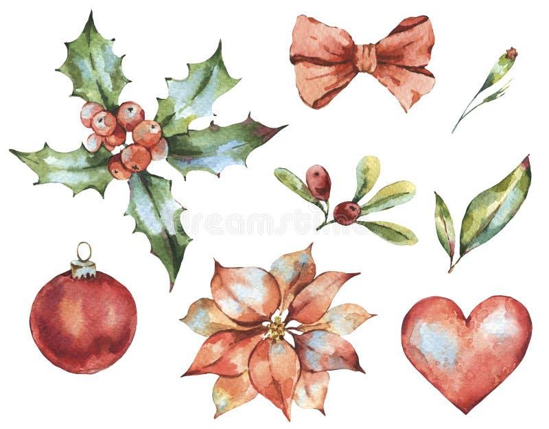冬天圣诞节水彩套新年装饰,红心 皇族释放例证