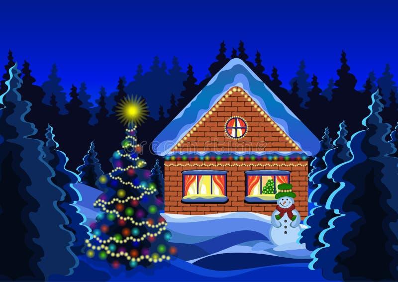 冬天圣诞节风景传染媒介图画 夜冬天雪森林,装饰用光亮诗歌选土气砖房子,雪人, 库存例证