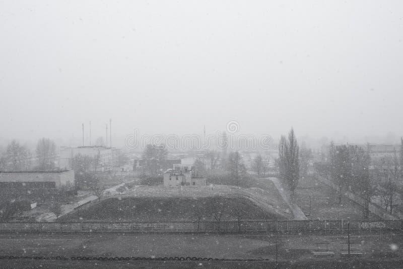 冬天在一个被放弃的镇切尔诺贝利 免版税库存图片