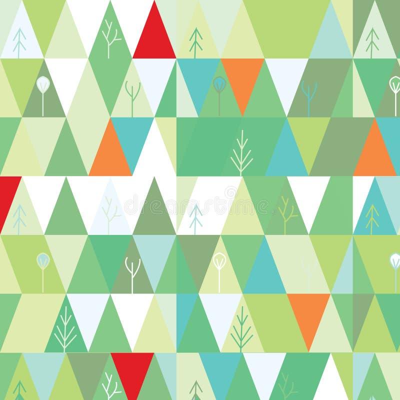 冬天在几何样式的树背景 向量例证